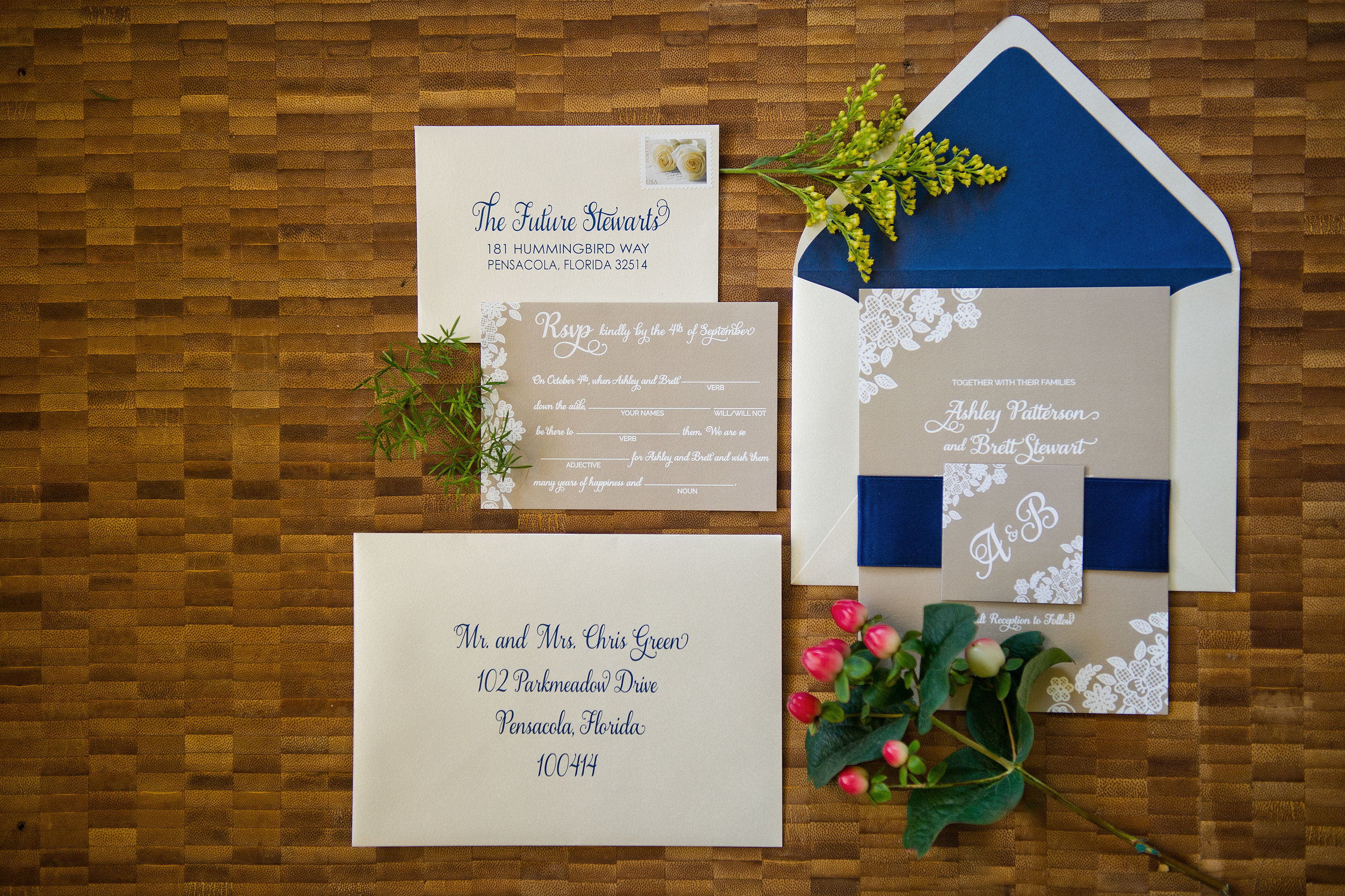kraft and lace invitation with navy envelope liner, designed by grace and serendipity