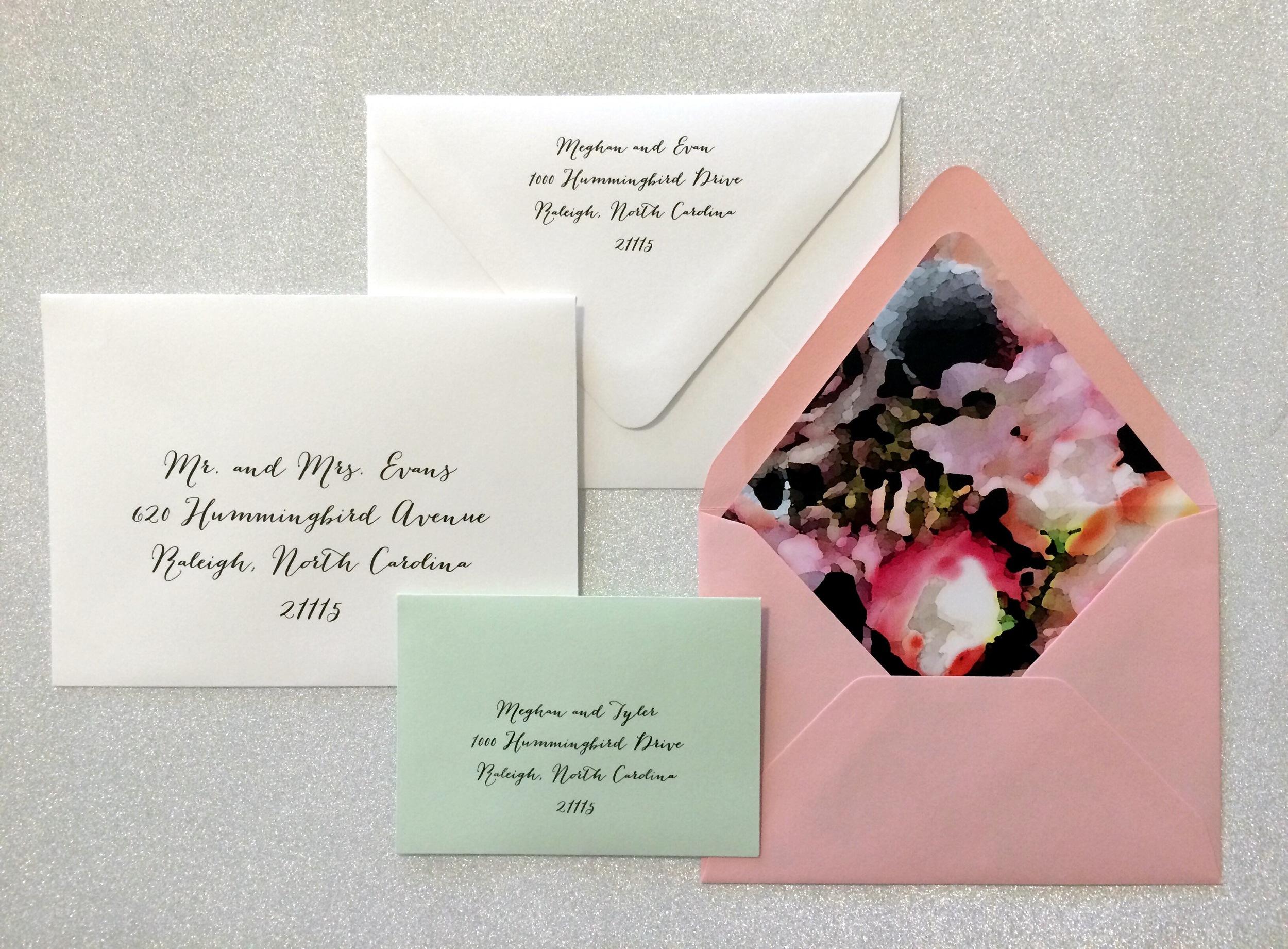wedding invitations - envelope liner and envelope addressing