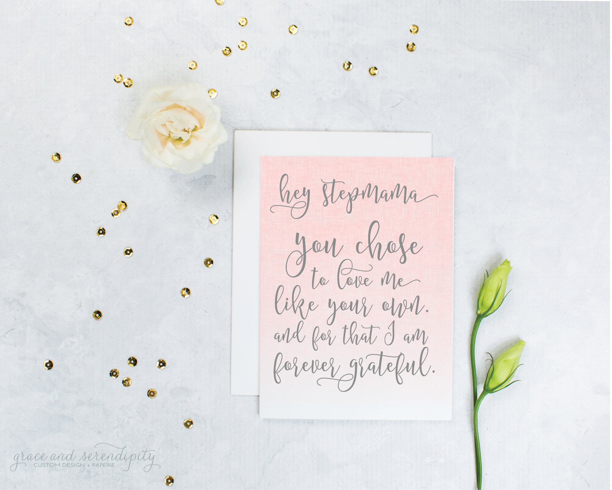 stepmom encouragement card by grace and serendipity