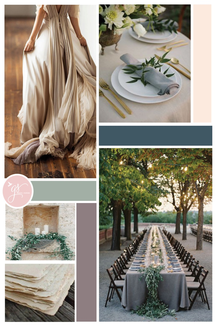 navy, sage, and gray organic wedding inspiration board - grace and serendipity