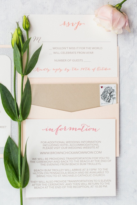 Champagne, Silver Glitter, and Blush Pocket Wedding Invitation Suite designed by Pensacola Wedding Invitation Designer Grace and Serendipity