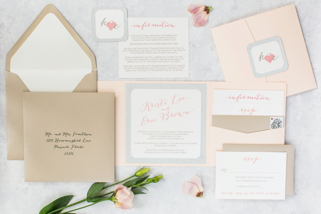 The Bombshell Suite - a blush pink and silver glitter pocket invitation suite designed by Grace and Serendipity