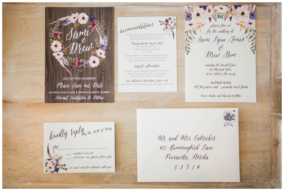 Bohemian Wedding Invitations and Save the Dates by Grace and Serendipity - floral wreath and feather details with wood accents