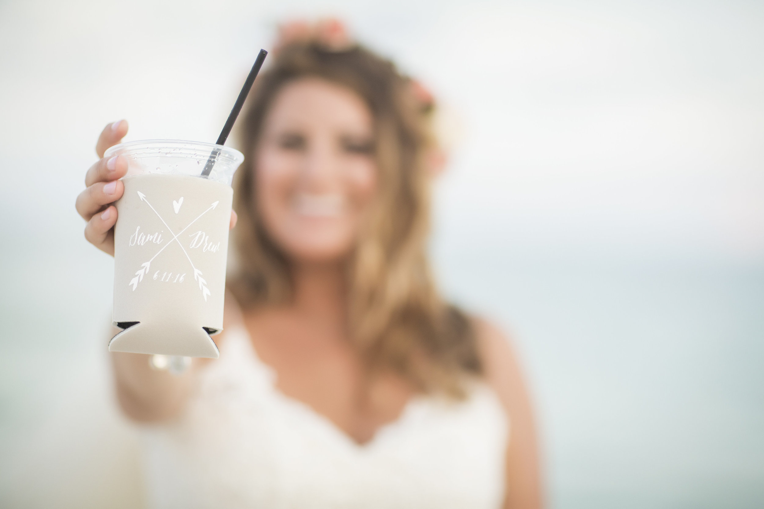 Wedding Koozies - Pensacola Beach Wedding, Photography by Aislinn Kate Photography, Design by Grace and Serendipity