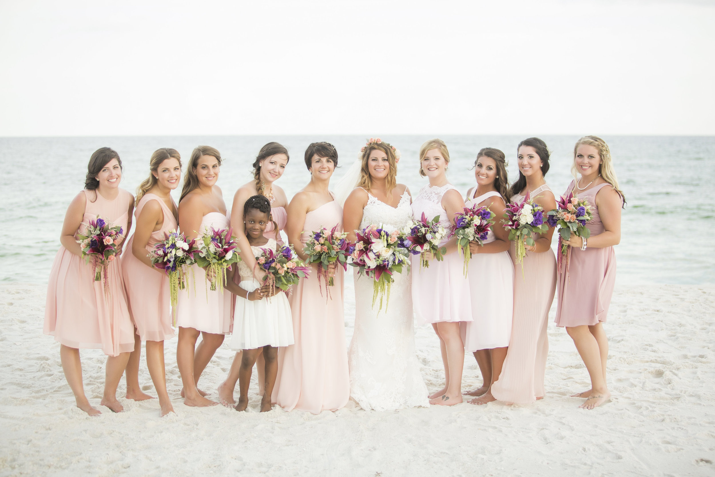 Blush, Rose and Eggplant Bohemian Beach Wedding on Pensacola Beach - Fiore of Pensacola, Grace and Serendipity, and Aislinn Kate Photography