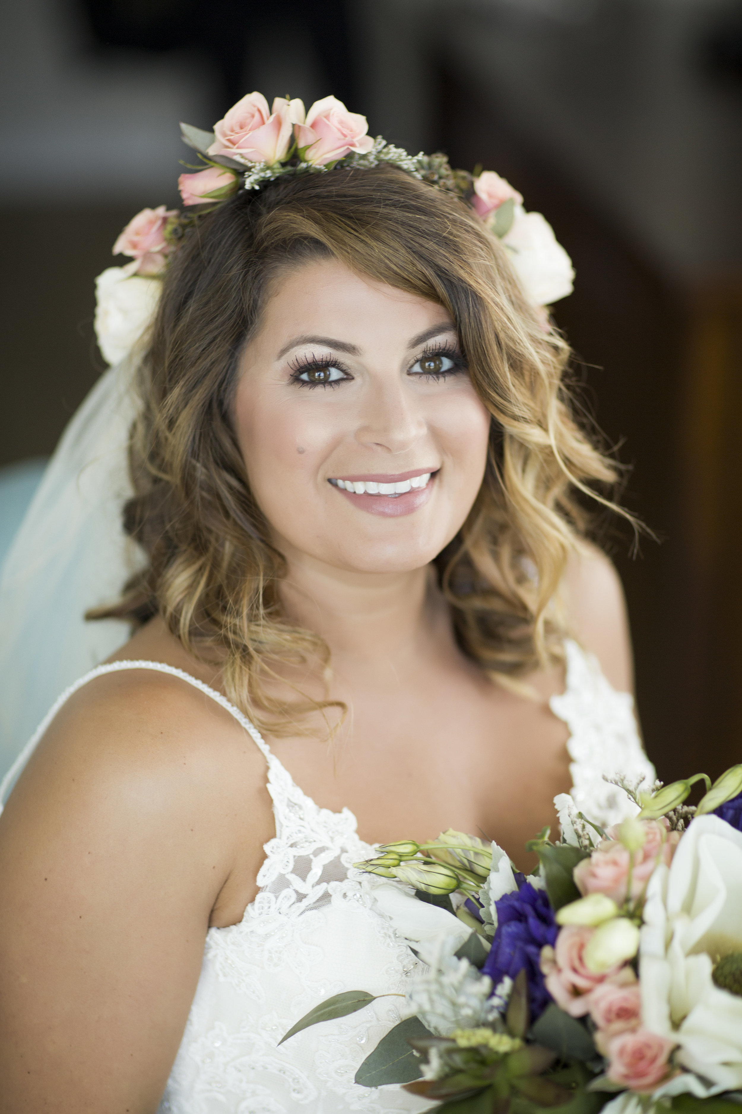 Floral Crown on Bride on Wedding Day by Fiore of Pensacola + Grace and Serendipity + Aislinn Kate