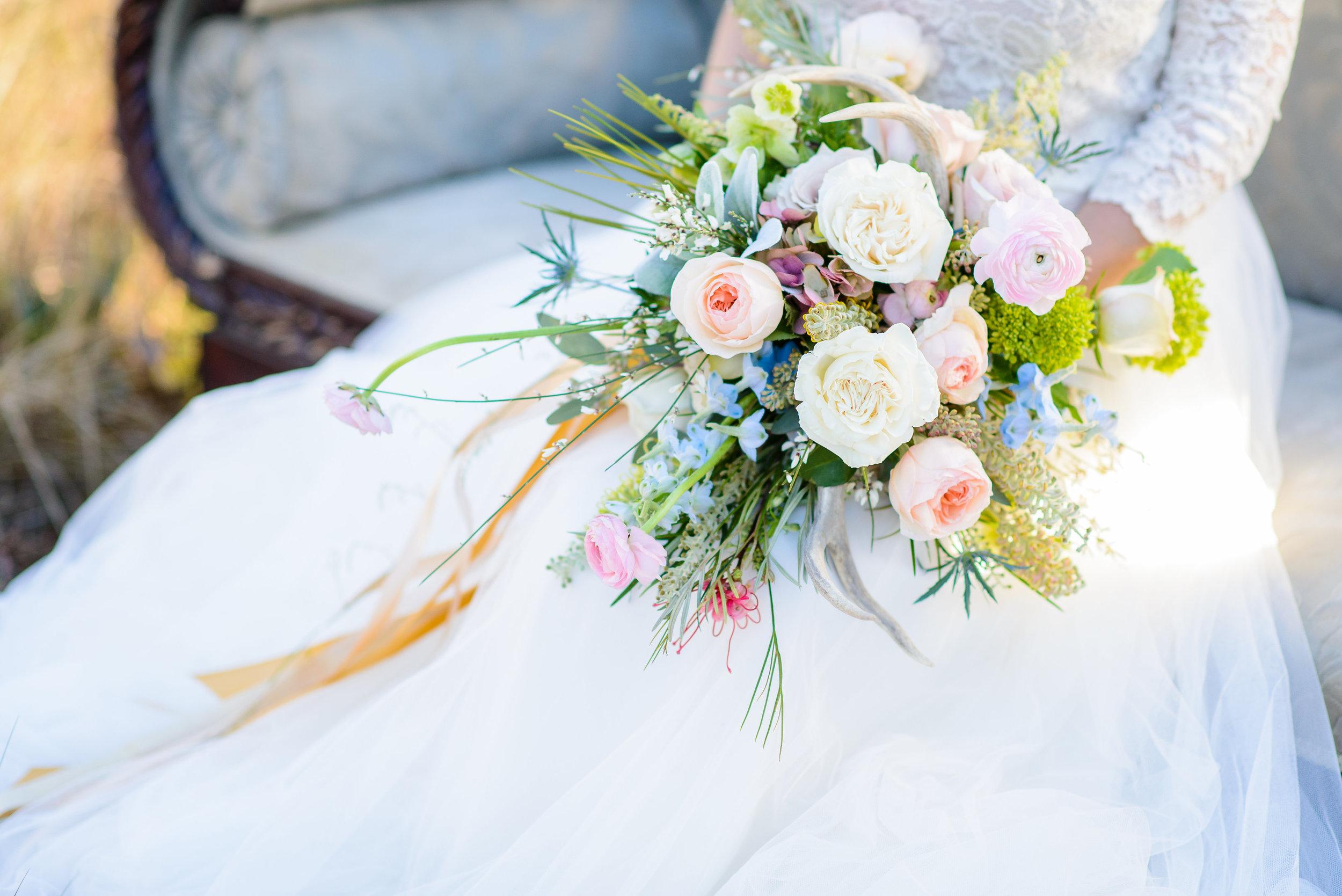 Blue, Pink, Peach Bouquet - Boho Antler Styled Shoot - The Veil Wedding Photography, Lori Parker Floral Studio
