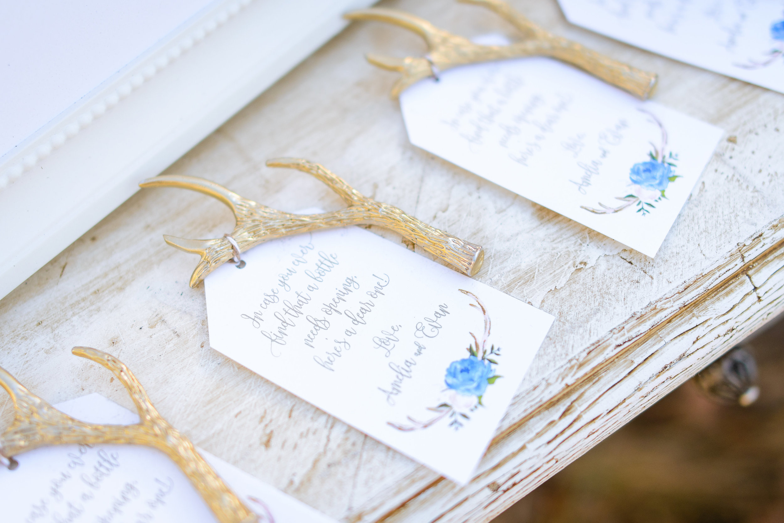 Weddingstar - Gold Antler Bottle Openers - Tags by Grace and Serendipity