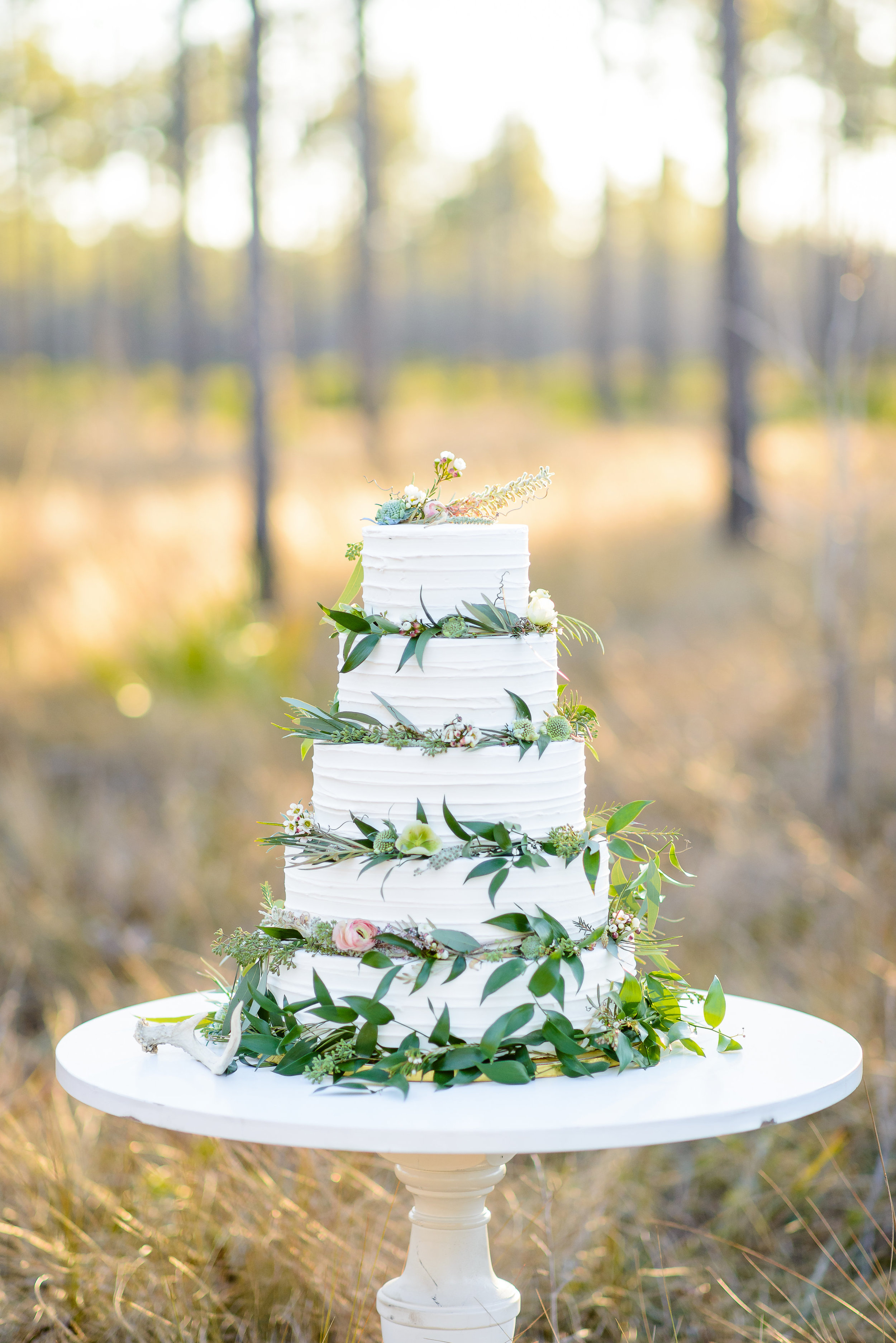 Beautiful Greenery Inspired Wedding Cake by Kakes by Katie