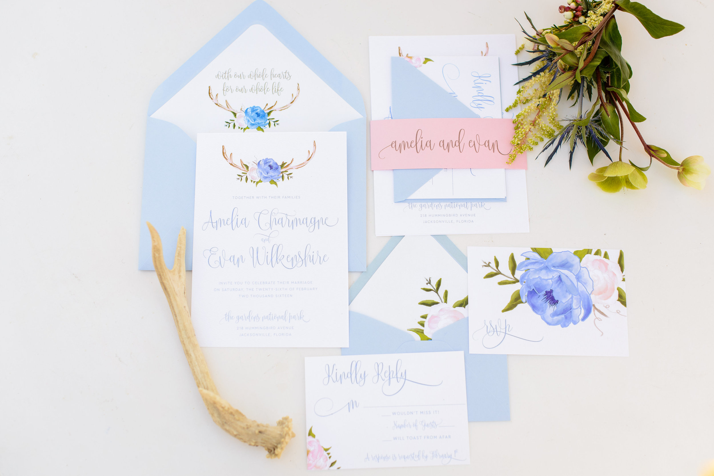 Blue and Pink Woodland Antler Wedding Invitations by Grace and Serendipity, Photography by The Veil Wedding Photo