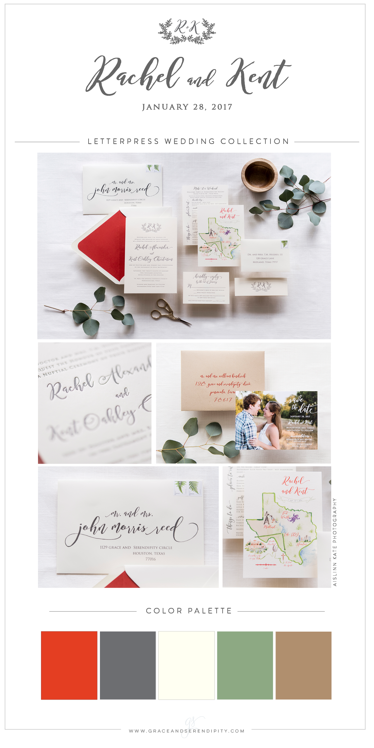 Slate, Cream, and Persimmon Custom Letterpress Wedding Invitation Suite by Grace and Serendipity, Watercolor Map by Simply Jessica Marie