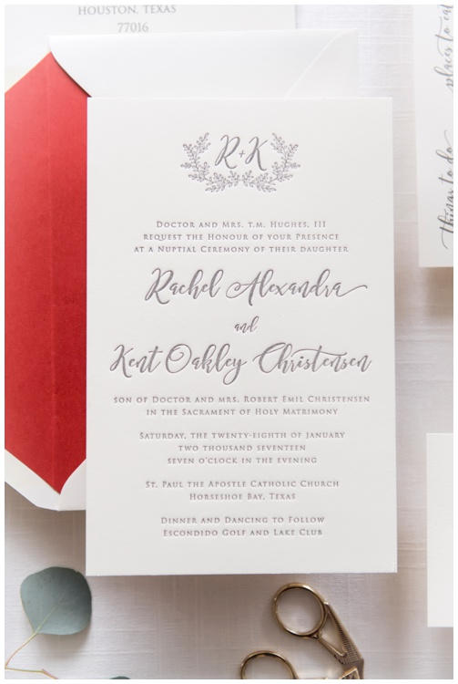 Ivory and Gray Letterpress Wedding Invitation by Grace and Serendipity, photography by Aislinn Kate