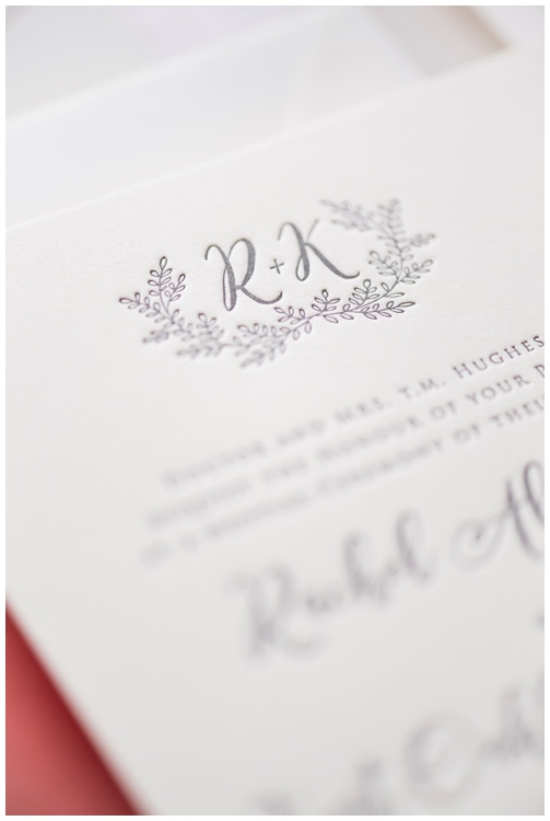 Custom Monogram - Ivory and Gray Letterpress Wedding Invitation by Grace and Serendipity, photography by Aislinn Kate