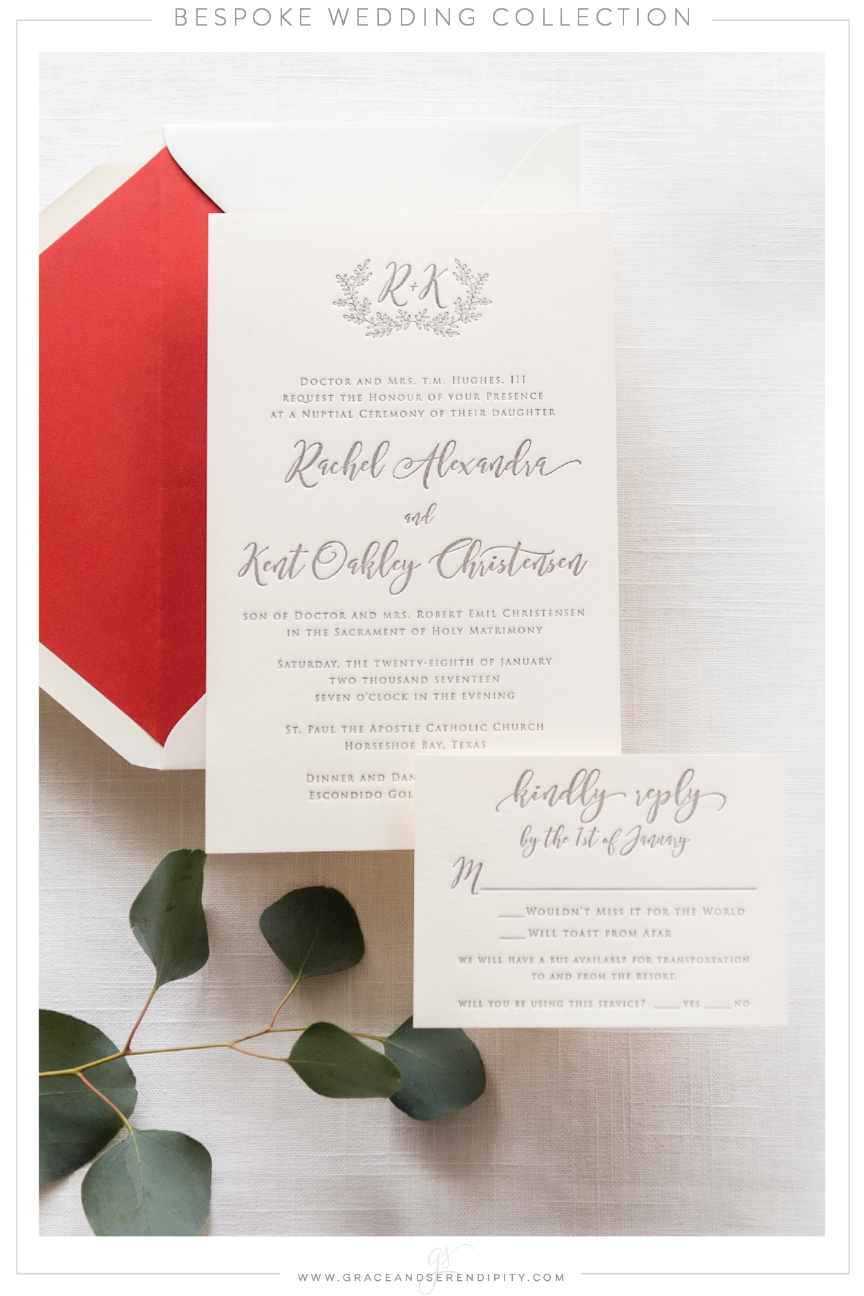 Custom Letterpress Wedding Invitation by Grace and Serendipity, photography by Aislinn Kate