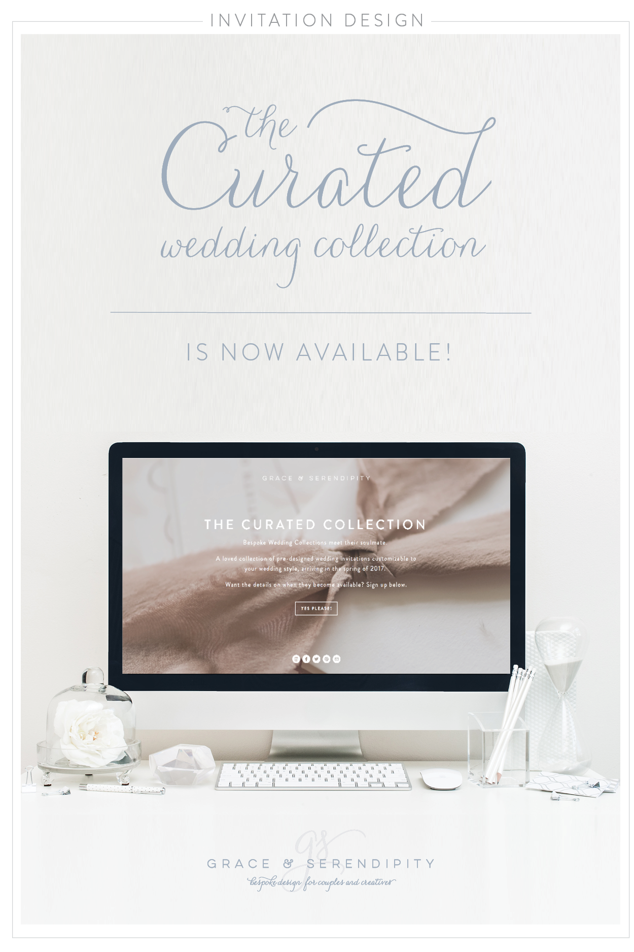 Curated and Semi-Custom Wedding Invitation Design by Grace and Serendipity