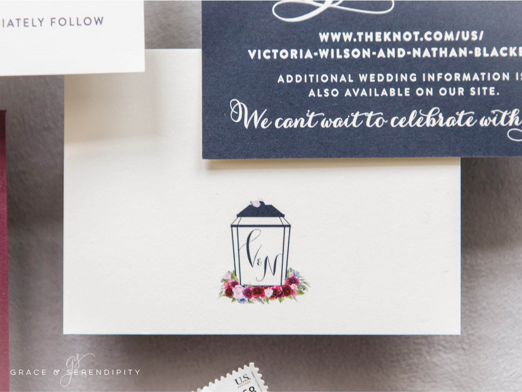 Burgundy and Navy Wedding Invitations - custom invitation design by Grace and Serendipity