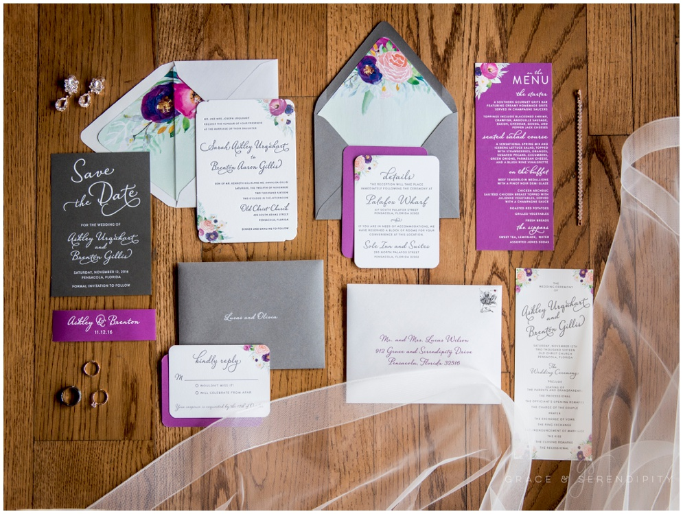 Vibrant Letterpress Wedding Invitation with White Foil Save the Date by Grace and Serendipity - Aislinn Kate Photography