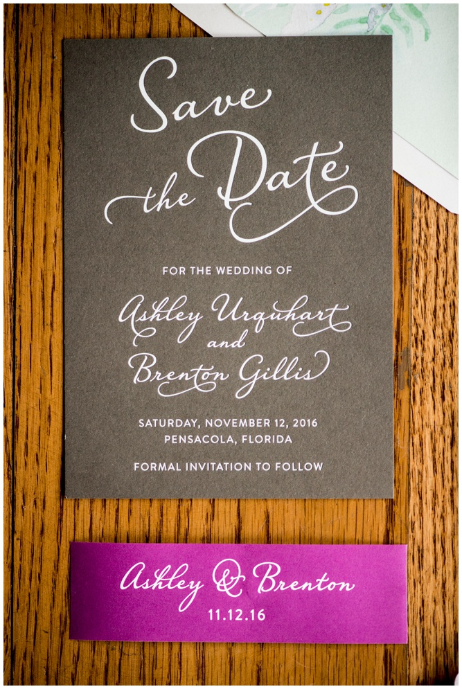 White Foil Save the Date by Grace and Serendipity - Palafox Wharf Wedding - Aislinn Kate photography