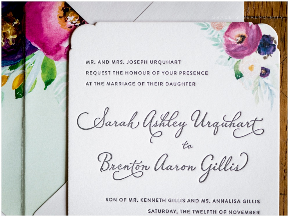 Vibrant Letterpress Wedding Invitation by Grace and Serendipity - Aislinn Kate Photography