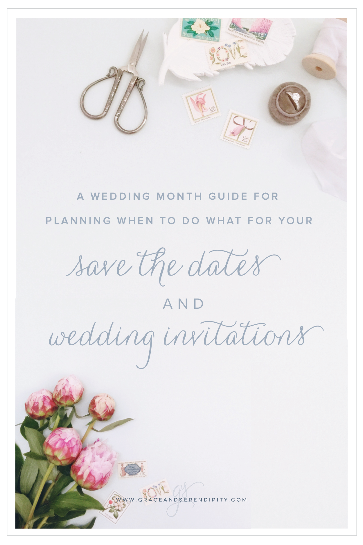 When to Order Save the Dates and Wedding invitations by wedding month, Grace and Serendipity