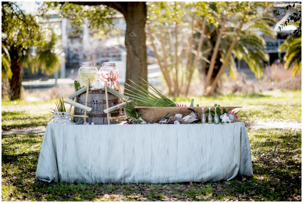 Swiss Family Robinson styled shoot - beverage station with beautiful wood drink stations