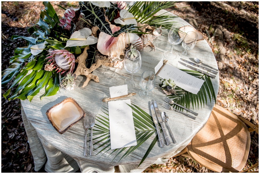 Deckled Edge Menu with Placecards for Tropical Inspired Wedding by Grace and Serendipity