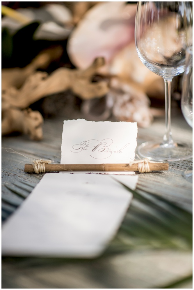 Deckled Edge Placecard with Menu and Monogram by Grace and Serendipity