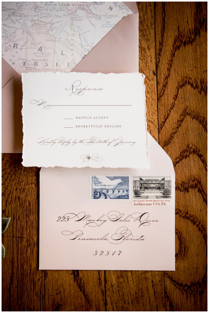 Deckled Edges Wedding Invitation with Vintage Stamps by Grace and Serendipity