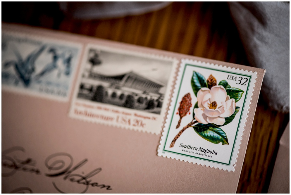 Custom Map Envelope Liner and Deckled Edges Wedding Invitation with Vintage Stamps by Grace and Serendipity