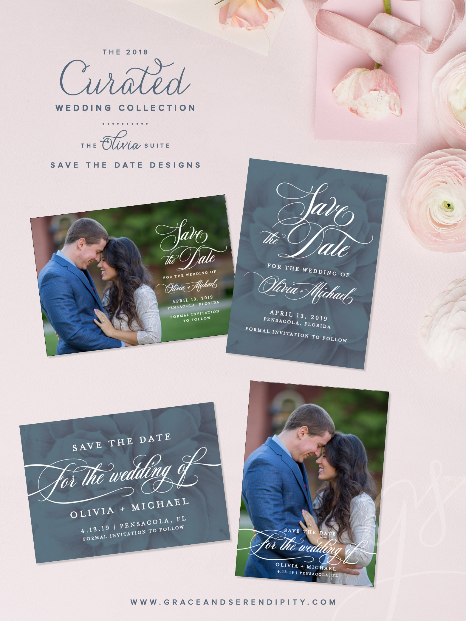 Floral Wedding Invitation Design, blue wedding save the date, Save the Dates without Photos by Grace and Serendipity