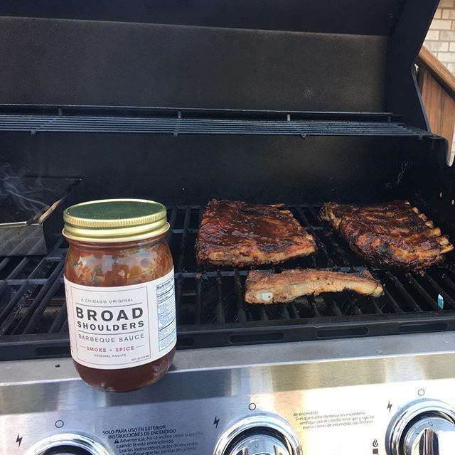 Grill Shot Fridays: sent in by a loyal Broad Shoulders user, some slow grilled ribs with a smoke box on the side and, of course, a healthy lather of Broad Shoulders BBQ! Thanks for sharing Brian, grill on!!