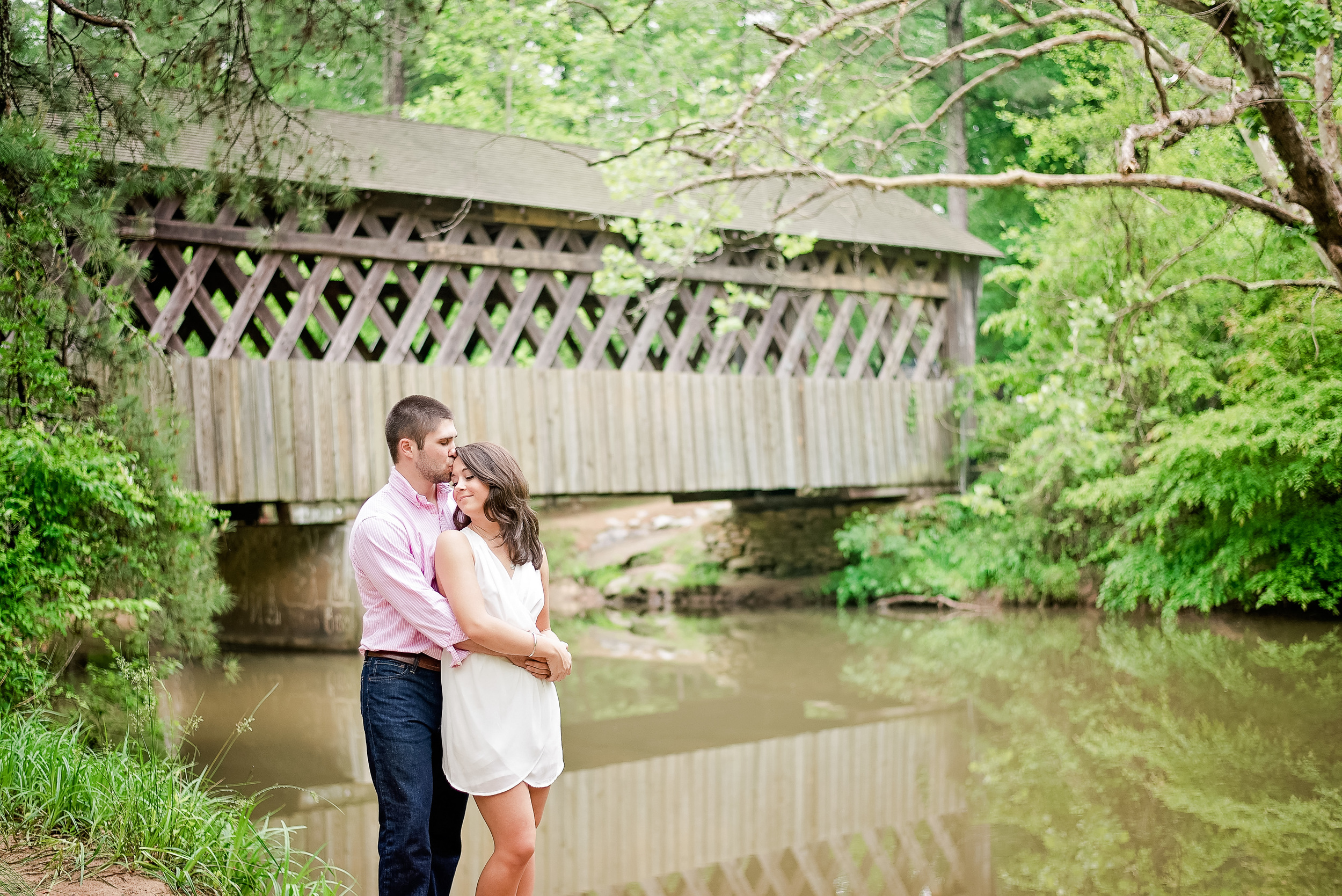 Engagement photos on a bridge