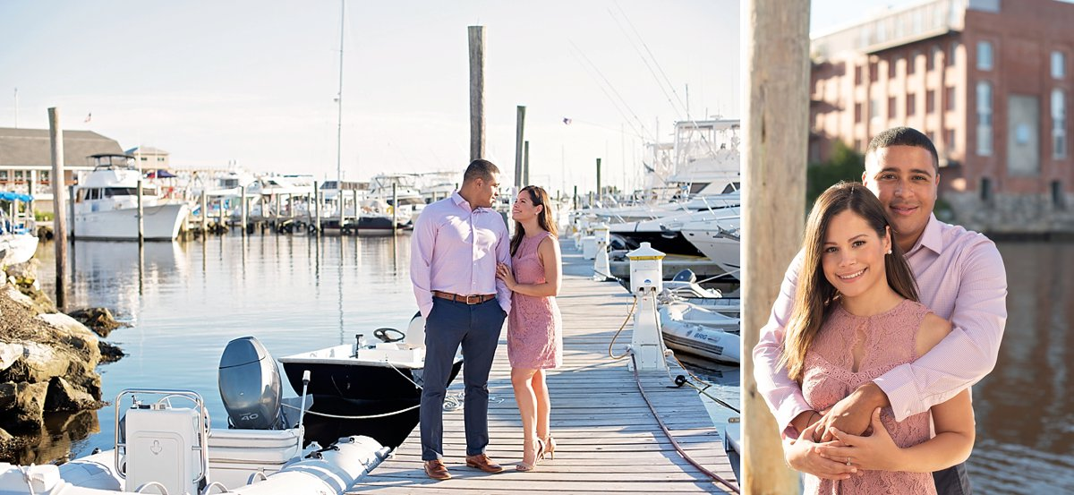 Engagement photos on a dock
