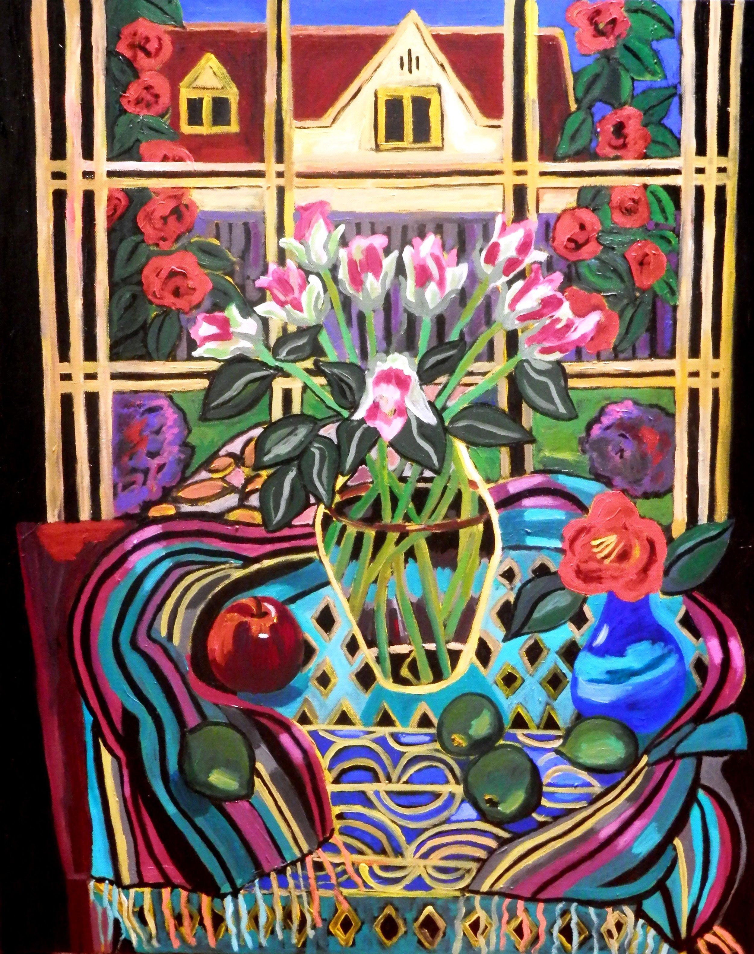 Pink Roses & Camellias     Acrylic on canvas.    77 cm x 61 cm    $1,100.00
