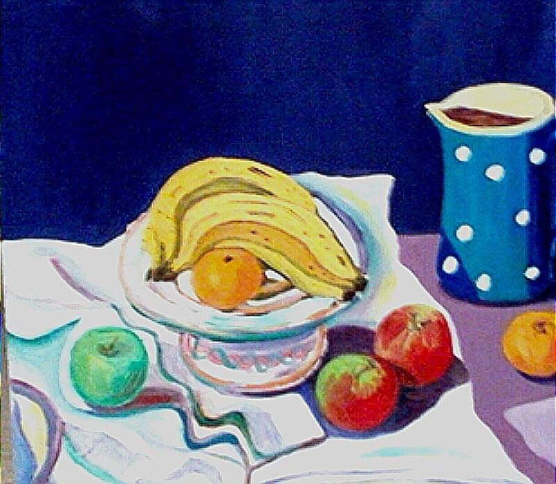 Bananas with Spotted Jug     Oil on Canvas    60 cm x 70 cm    $650