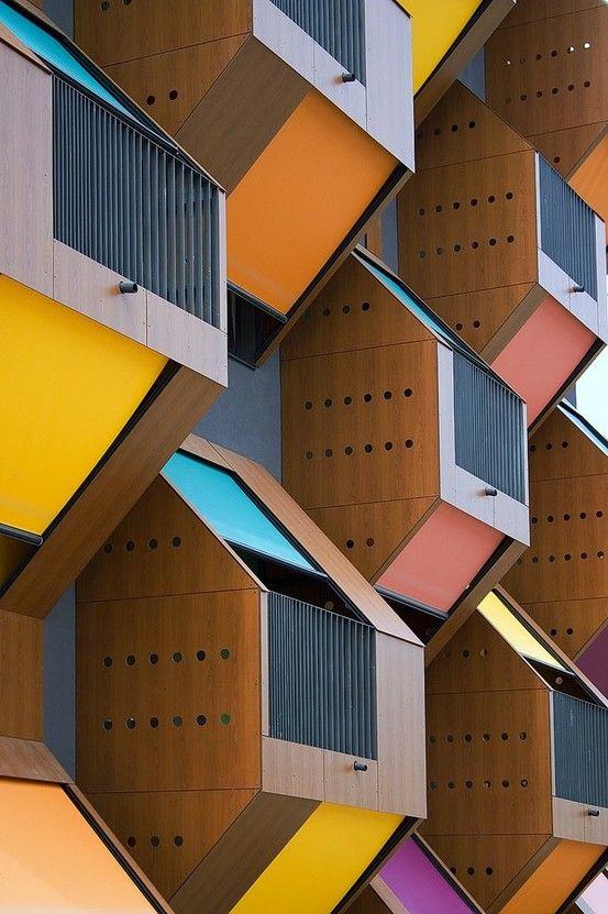 "The colourful ""Honeycomb"" apartments built by OFIS arhitekti in Izola,  Slovenia  2006."