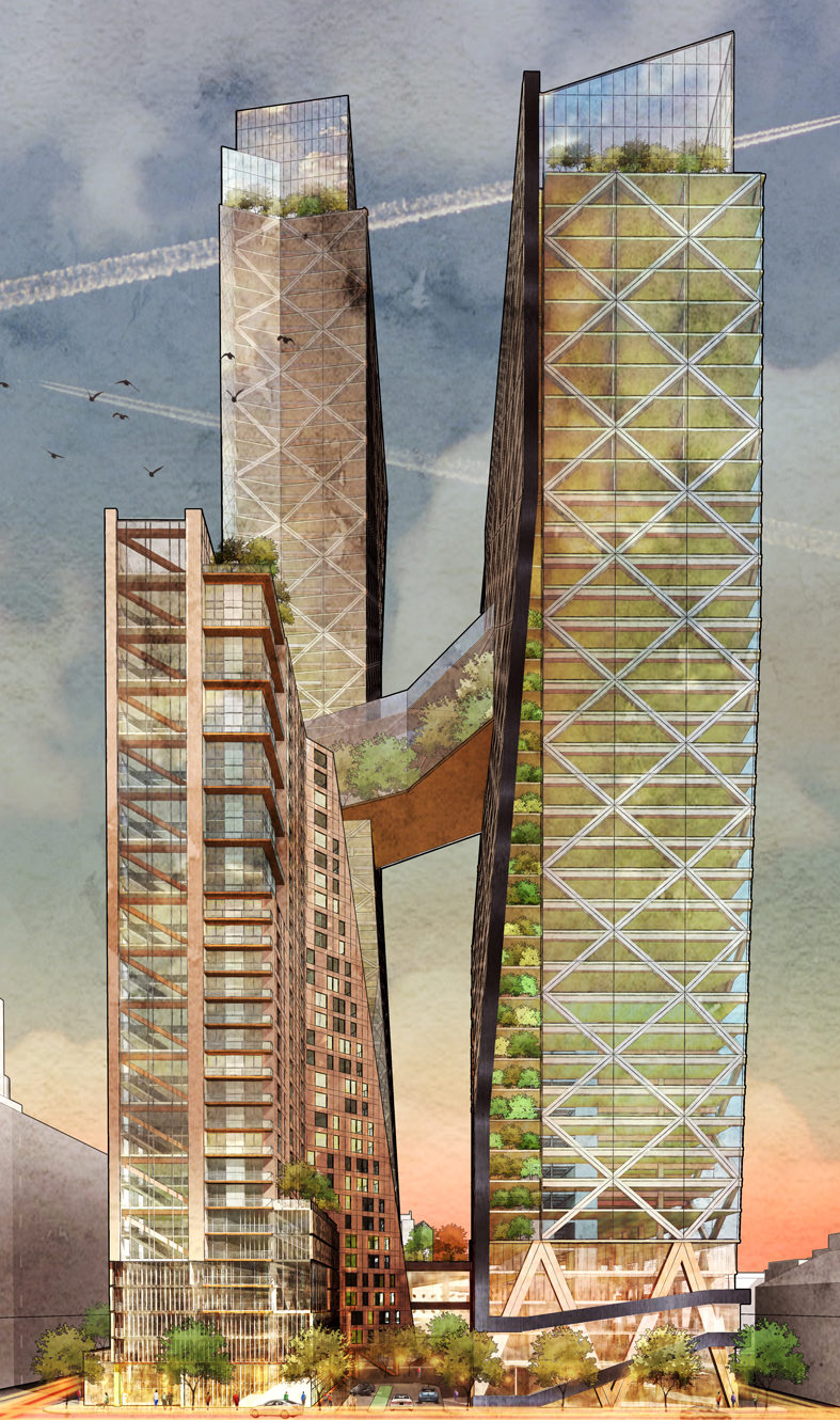Philadelphia's Timber Towers by Hickok Cole. Image Credit: Hickok Cole