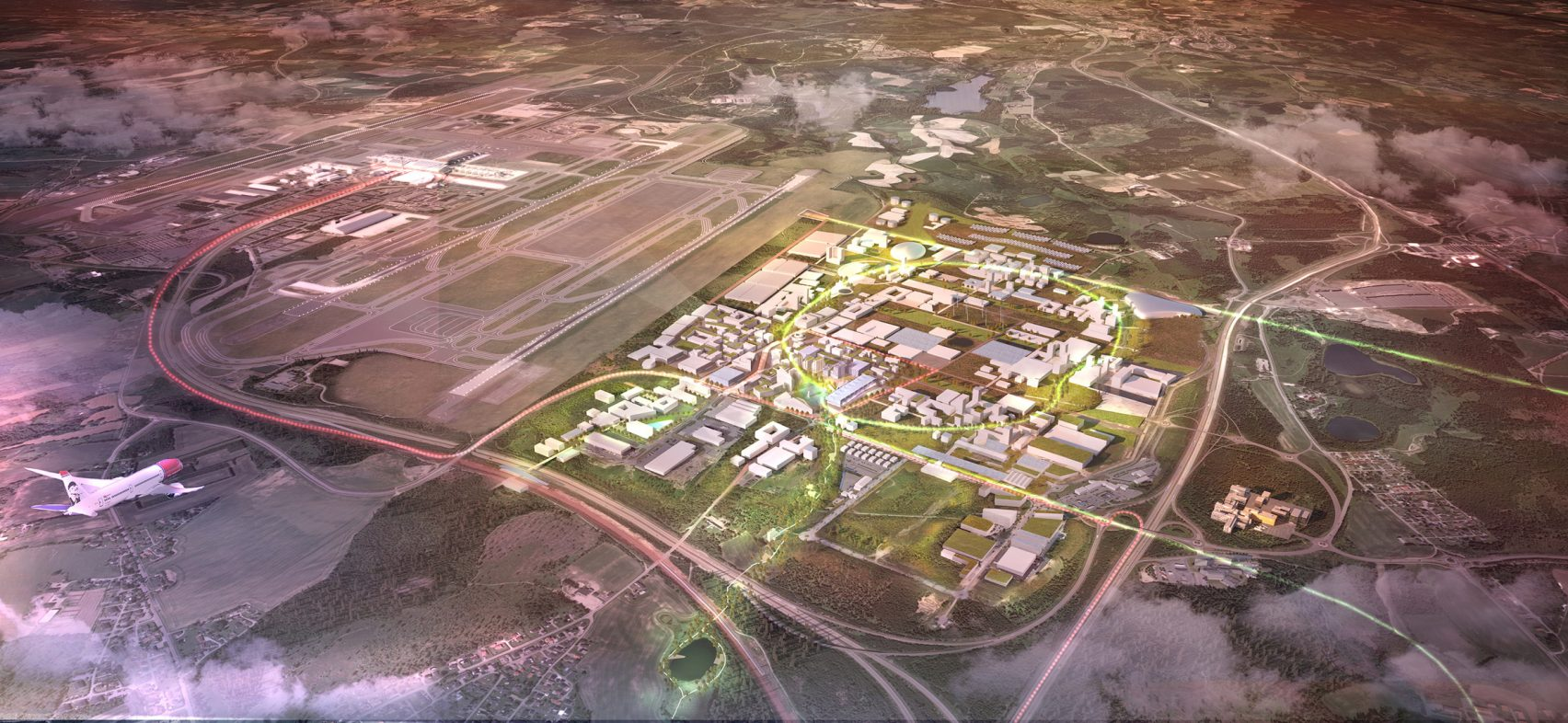 Norway's proposed Oslo Airport City. Image Credit: Futurism