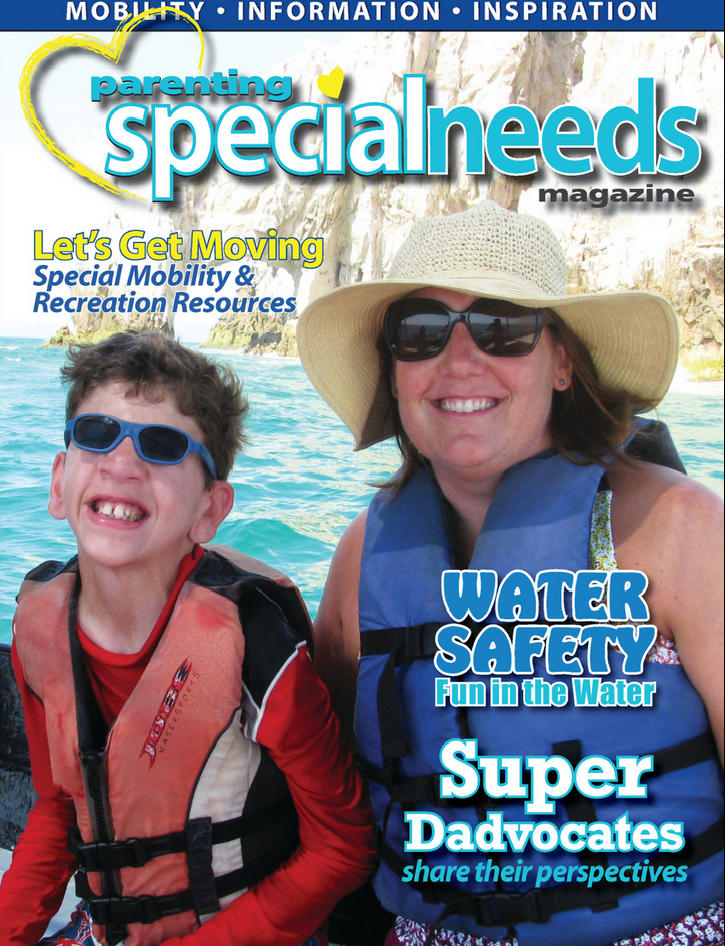 Beth and her 15 year old son, Robbie, on the summer cover of Parenting Special Needs magazine