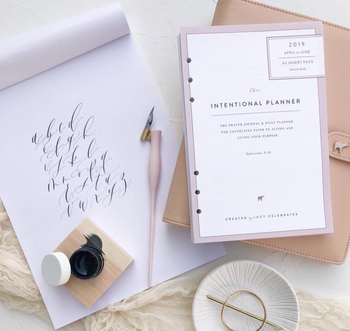 Liked but no longer using: Lucy Celebrates 'Intentional Planner' Inserts - These inserts are great, but the two-day-per-page layout was just too much for me to keep up with and is unnecessary given the fact that I already journal and record my gratitude in separate systems. (Photo Credit: @lucycelebrates 2019)