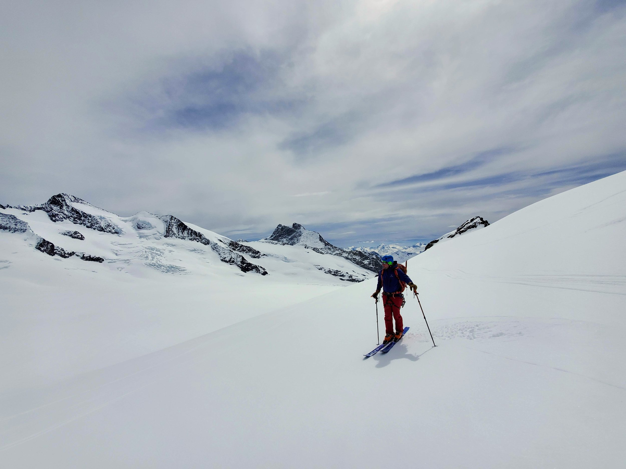 Sean partway down the Trugberg, enjoying wonderful corn skiing and world-class views.