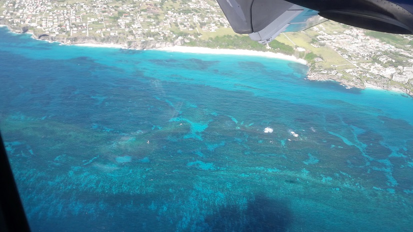 The view out the plane window as we arrive into Barbados.