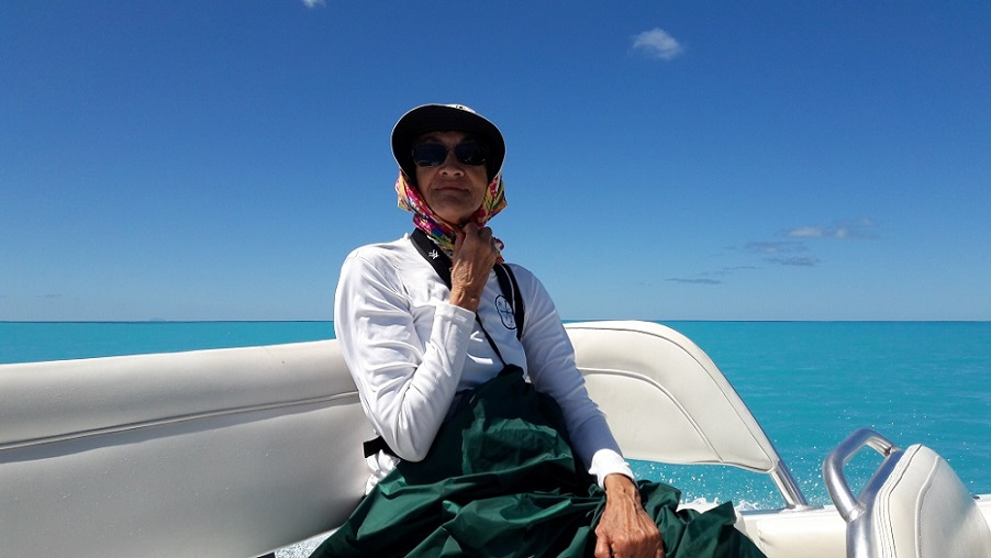 Jade aboard our sleek cruiser - bound for Barbuda