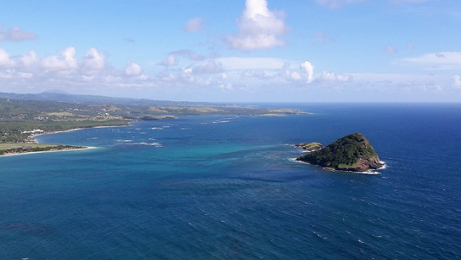 A birds eye view of the coastline of St. Lucia (photo by Ryan Chenery)