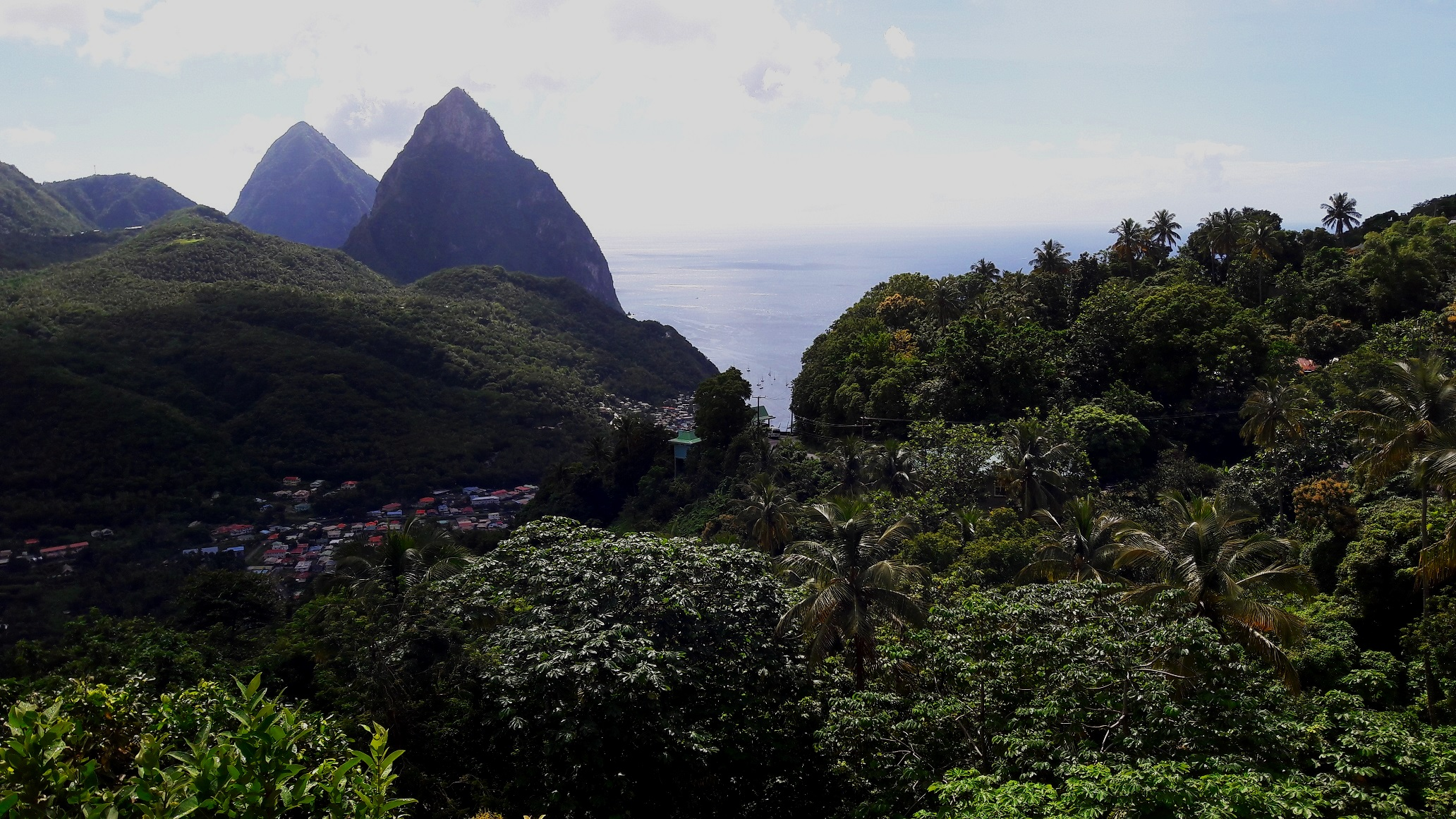View of Les Pitons from the balcony of The Beacon