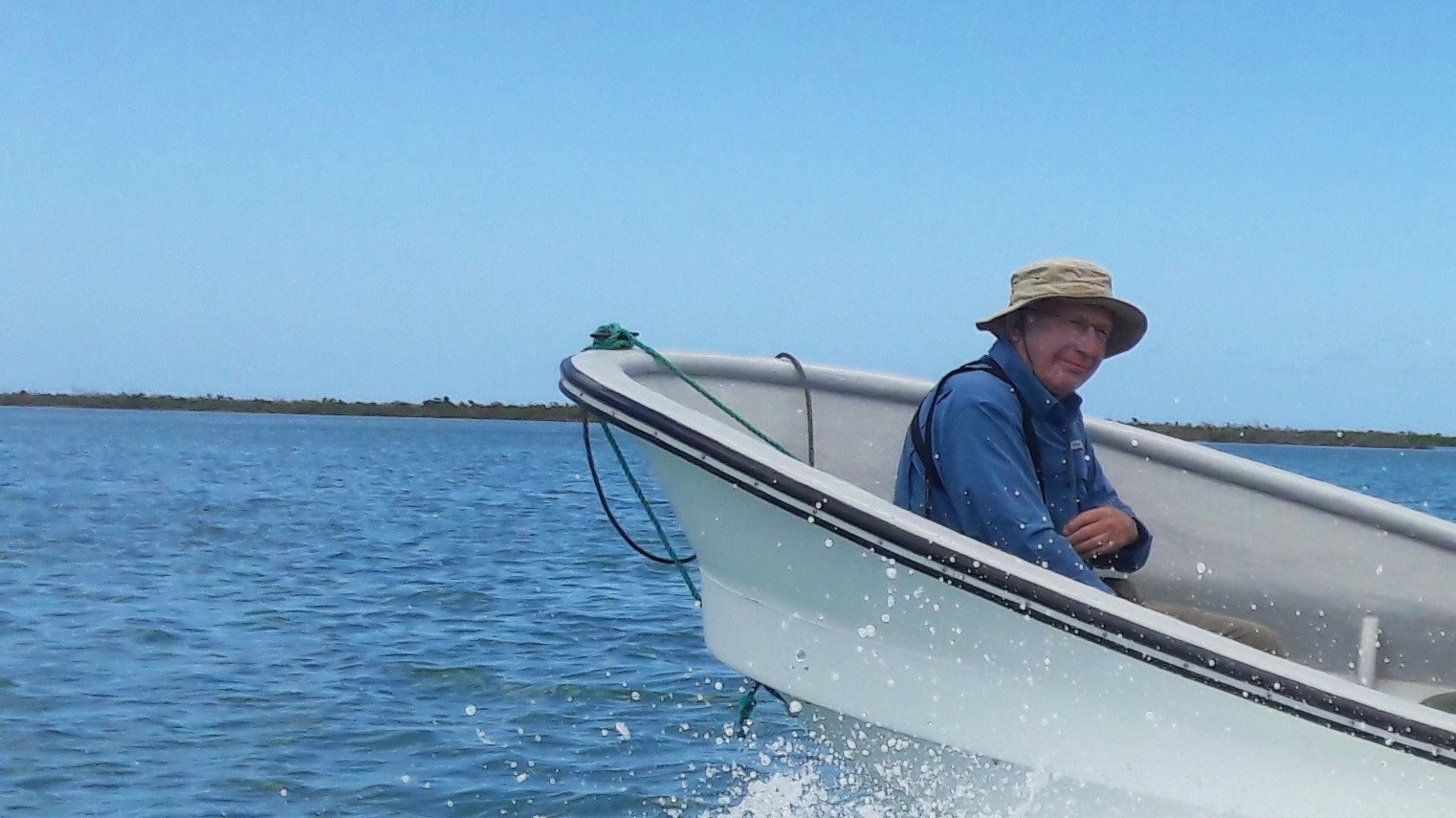 Terry crossing the lagoon en route to the Magnificent Frigatebird colony
