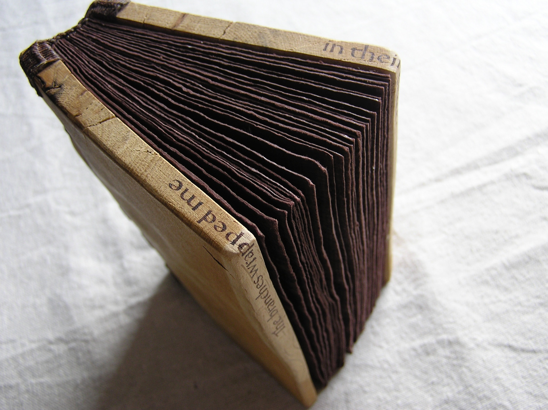 Small handmade book of letters painted onto rag paper and bound in wooden boards.