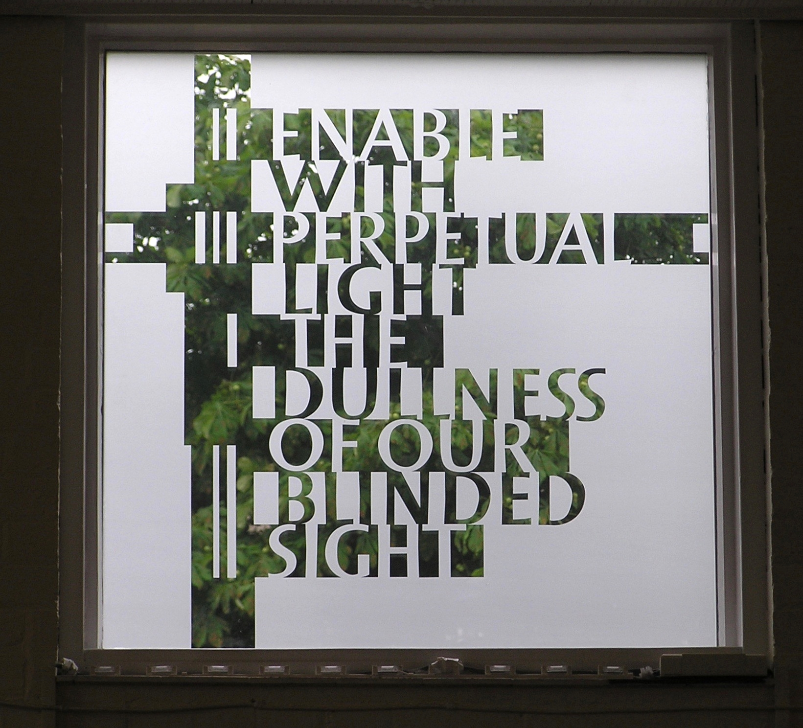 Design for a window of St James' church Cambridge, cut out of film and applied to appear as if it is etched.