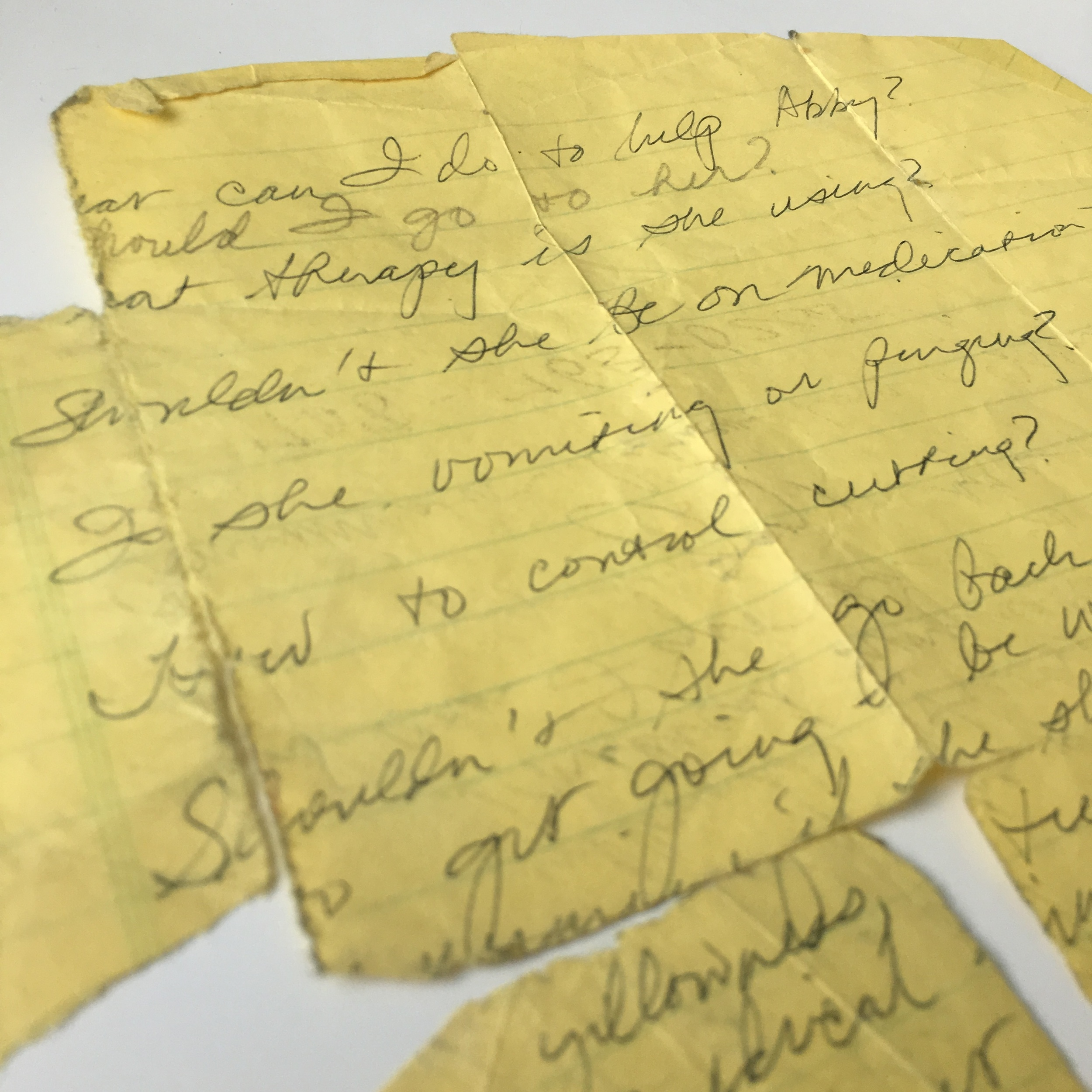 MOM'S LETTER.I showed my mom the angry scabs from where I'd cut myself. She crumpled as if I'd cut her too.  Photo ©1in20