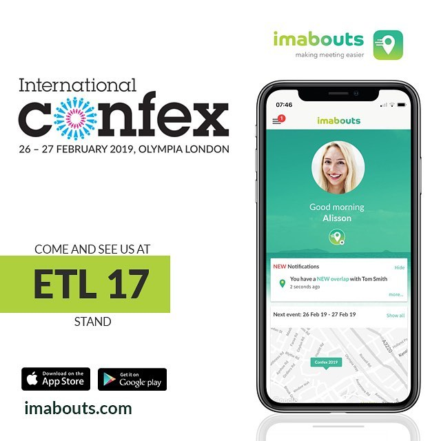 We're excited to be attending International Confex 2019.  Drop by stand ETL 17 and meet some of the imabouts team!  #businesstravel #conference #imabouts #travel #travelapp #confex #confex19 #london #makingmeetingeasier #meetup #app #freedownload